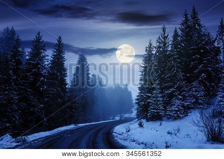 Country Road Through Forest At Night. Misty Winter Weather In Full Moon Light. Snow On The Roadside.
