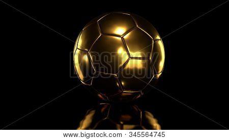 Golden socer ball on black background.3d rendering.