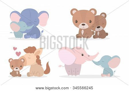 Cute Cartoons Elephants Horses And Bears Mothers And Cubs Design, Animal Zoo Life Nature Character C