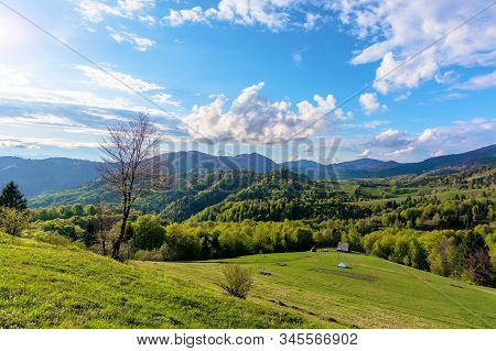 Carpathians Countryside In Springtime. Wonderful Sunny Weather With Dynamic Cloud Formations On The