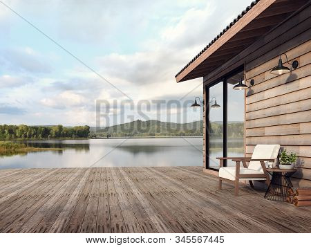 Wooden House Exterior With Beautiful Lake And Mountain View 3d Render,there Are Old Wood Terrace Flo