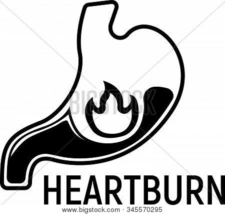 Heartburn Stomach Concept Icon And Label. Health Research Symbol, Icon And Badge. Simple Black Vecto