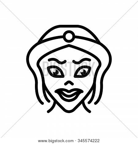 Black Line Icon For Cartoon Caricature Parody Scary Lady
