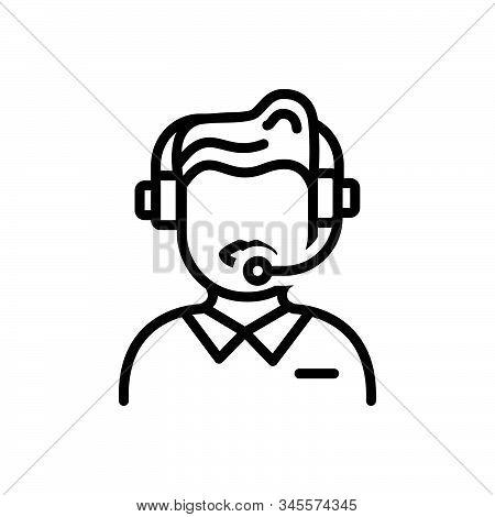 Black Line Icon For Customer-service Customer Service Call-center Helpline Operator Consultant Telem