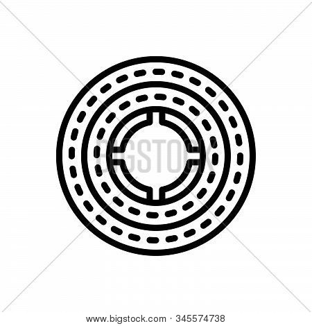 Black Line Icon For Round Circular Annular Circinate Rotund Discoid