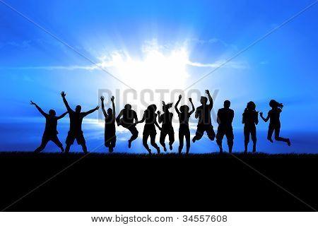 People Jumping In Sun Rays