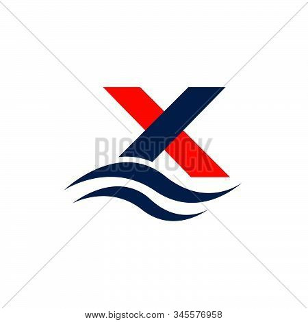 Sporty Initial X Letter Logo Design With Wave Vector Concept Illustration