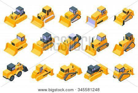 Bulldozer Icons Set. Isometric Set Of Bulldozer Vector Icons For Web Design Isolated On White Backgr