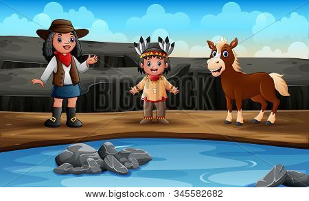 Young African Cowgirl With Indian Girl And Horse On Rocks