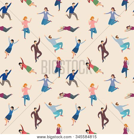 Joyful People Jumping Seamless Pattern. Man And Woman Happy Leap Energetic. Vector Illustration