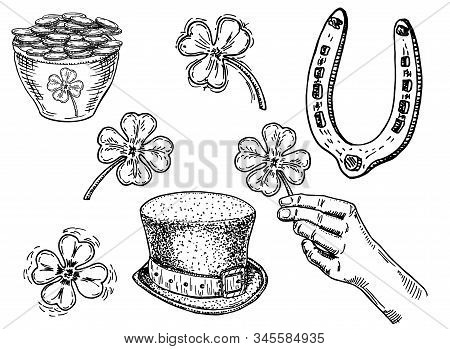 Saint Patrick S Day Sketch Icon Illustration Set. March 17. Feast Of St. Patrick. Isolated Vector Il