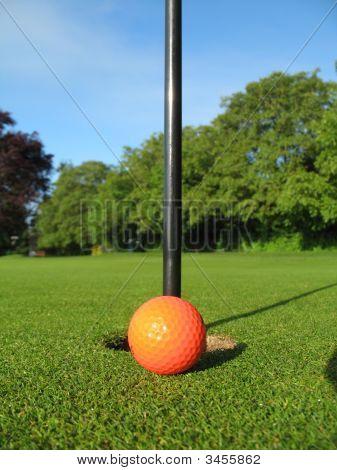 Golf Green Orange Ball