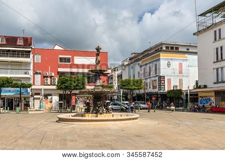 Pointe-a-pitre, Guadeloupe - December 14, 2018: Fountain Near Central Market In Pointe-a-pitre, In T