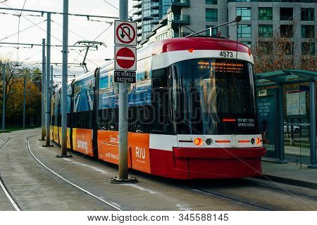 Toronto, Canada - December, 2019 A New Bombardier-made Ttc Streetcars On The King Street In Toronto.