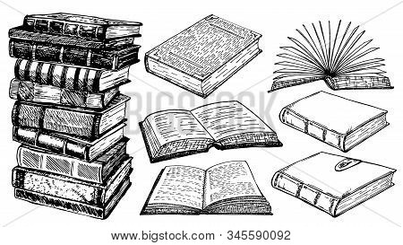 Books Vector Collection Sketch. Pile Of Books. Hand Drawn Illustration In Sketch Style. Library, Boo