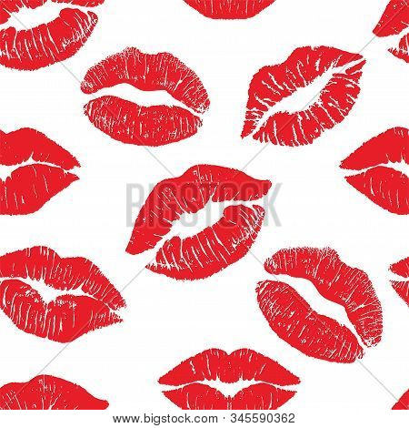 Lipstick Kiss Print Isolated Seamless Pattern. Red Vector Lips Set. Different Shapes Of Female Sexy