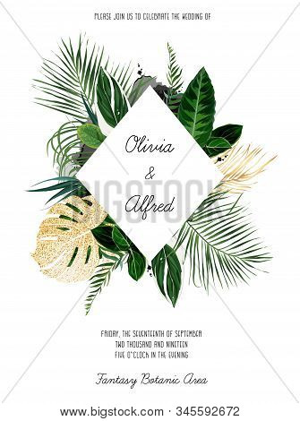 Tropical Frame Arranged From Exotic Emerald And Golden Glitter Leaves. Paradise Plants, Greenery And