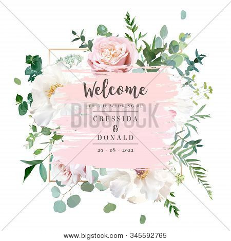 Elegant Floral Vector Card With White And Creamy Woody Peony, Dusty Rose Flowers, Eucalyptus, Mixed