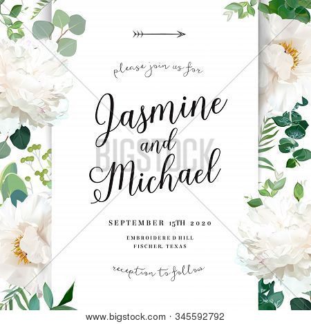 Luxurious Delicate Wedding Card With Flowers. White Woody Peony, Fern, Eucalyptus, Greenery. Spring