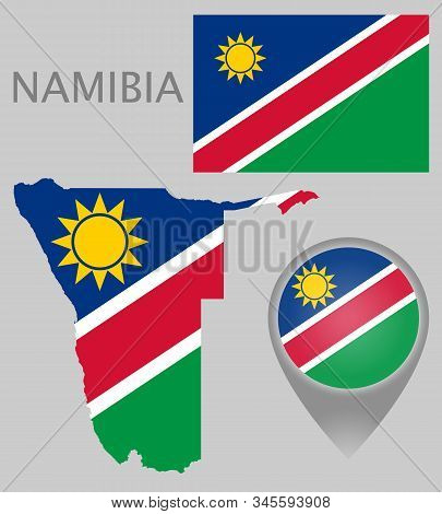 Colorful Flag, Map Pointer And Map Of Namibia In The Colors Of The Namibian Flag. High Detail. Vecto