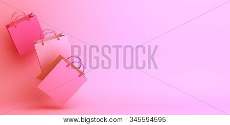 Happy Valentines Day, Valentines Day Background, Empty Pink Shopping Bag In The Studio Lighting, Val