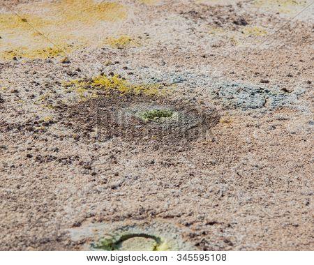 Sulfur Fumaroles With Sulfur Crystals On Stefanos Crater Nisyros Greece