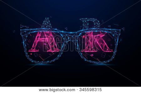 Ar. Virtual Reality With Hololens Glasses. Smart Glasses And Augmented Reality Concept. Virtual Tech