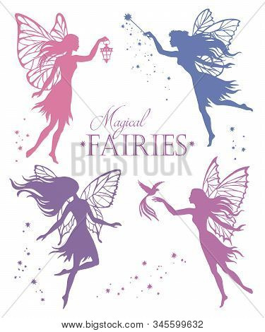 Set Of Flying Fairy, Isolated On White Background, Vector Silhouette Illustration.