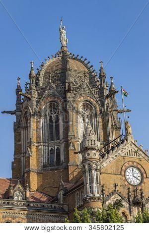 Close- Up Veiw Of Chhatrapati Shivaji Terminus Formerly Victoria Terminus In Mumbai, India Is A Unes