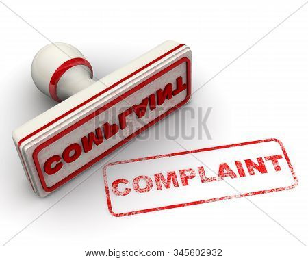 Complaint. The White Seal And Red Imprint With Word Complaint On White Surface. Isolated. 3d Illustr