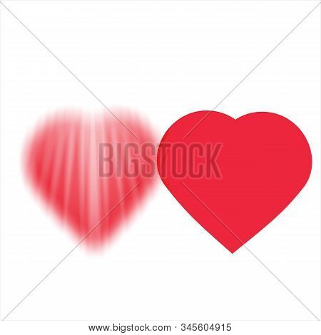 Love Icon, Red Icon. Simple Icon. Heart Icon Combined With Lines. Flat Love Icon. Icon With A Trendy