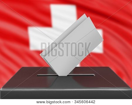 3d Illustration. Ballot Box With Swiss Flag On Background