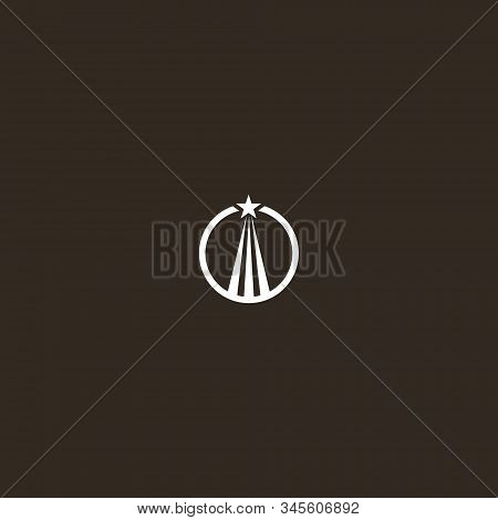White Sign On A Black Background. Simple Flat Art Vector Iconic Sign Of A Soaring Up Star In A Round