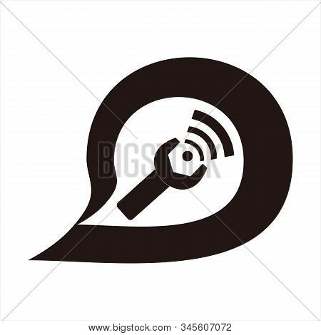 Message Icon, Simple Icon. Signal Vector Icon And Workshop Key With White Background. Trendy And Mod
