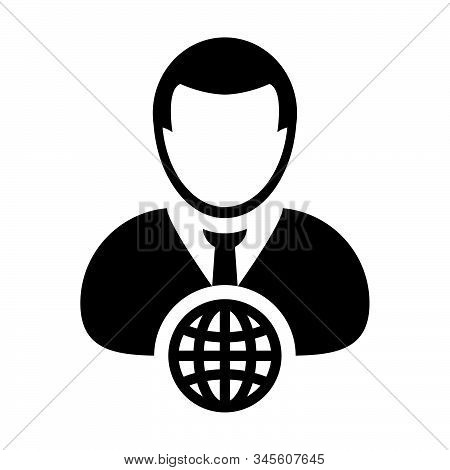 Internet Icon Vector Globe With Male Person Profile Avatar Symbol For A Business Network In A Flat C