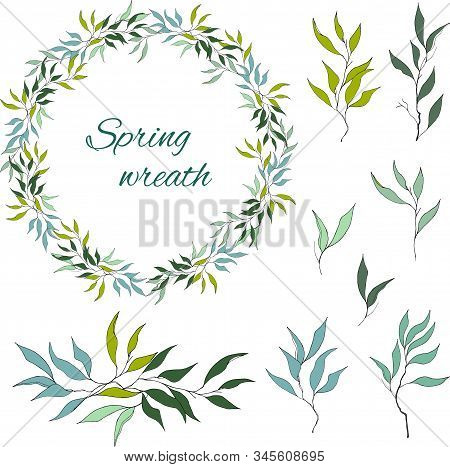 Set Of Green Floral Patterns, Ornaments And Vector Wreaths Of Green Olive Leaves And Vectors For Dec