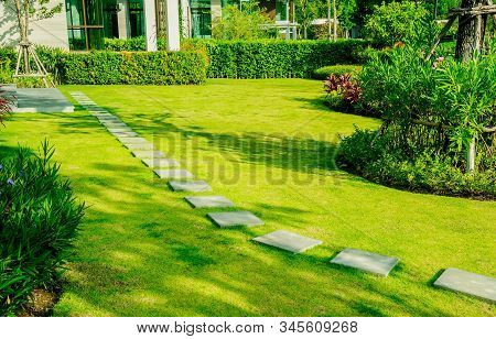 Pathway In Garden, Green Lawns With Bricks Pathways, Garden Landscape Design, Curve Walkway On Green