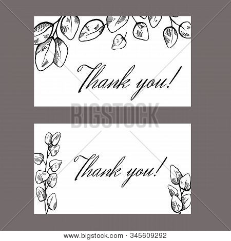 Set Of Thank You Card With Sketch Of Eucalyptus And Place For Text. Botanical Engraving Illustration
