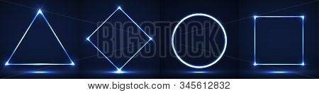Set Of Neon Geometric Elements, Shapes Triangle, Rhombus, Circle, And Square. Vector Illustration
