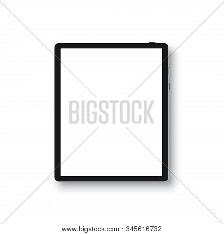 Tablet In Style Black Color With Blank Touch Screen Isolated On White Background. Stock Vector Illus