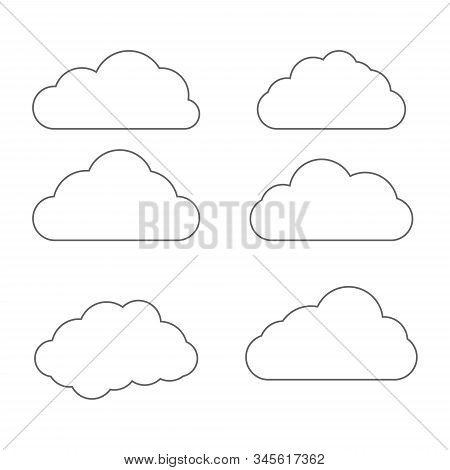 Cloud Icon In Line Style. Set Of Art Clouds Shape In Flat Linear Style. Outline Simple Black Cloud O