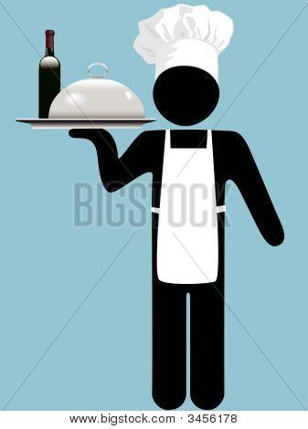 Küchenchef oder Kellner mit Wein & Essen Entre auf tray