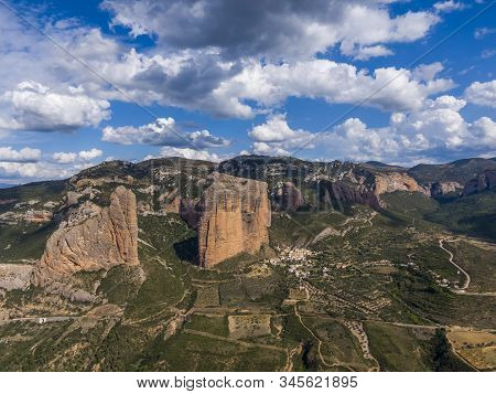 Aerial View Of The Mallos De Riglos, A Set Of Conglomerate Rock Formations In Aragon, Spain