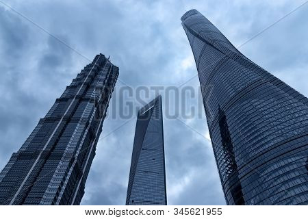 Shanghai, China - April 20, 2019: View Of Shanghai Tower (right), The Jin Mao Tower (left) And The S