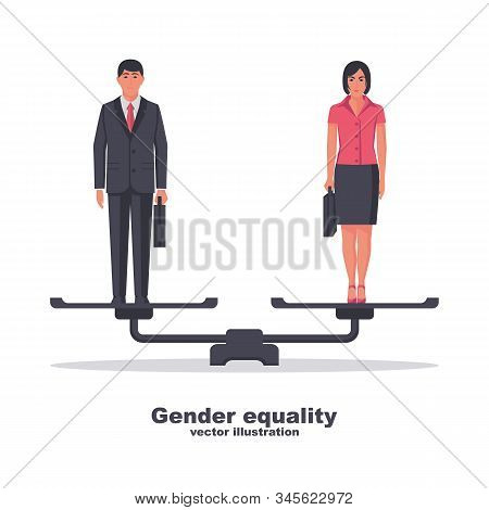 Gender Equality Concept. Business People Man And Women Are Standing On Scales As A Symbol Of Equalit