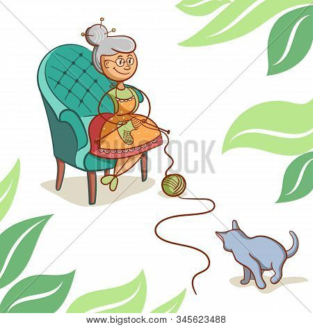Grandmother In A Chair Knits Socks, Cat Plays With A Ball Of Thread. Vector Illustration