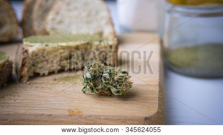 Close-up Of Bread With Hemp Flour, Sandwich With Cannabis Butter And Hashish