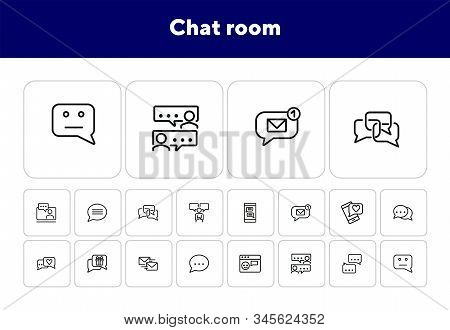 Chat Room Line Icon Set. Speech Bubbles, Technology, Texting. Social Media Concept. Can Be Used For