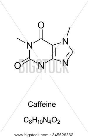 Caffeine Molecule Skeletal Formula. 2d Structure Of C8h10n4o2, A Methylxanthine Alkaloid, Also Thein
