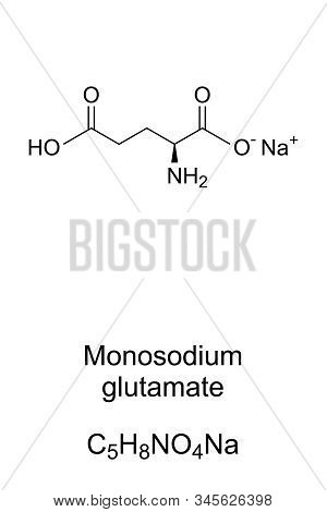 Monosodium Glutamate Molecule Skeletal Formula. 2d Structure Of C5h8no4na, Sodium Glutamate, Used As